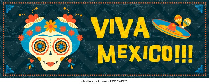 Happy cinco de mayo typography quote illustration. Festive mexican event web banner with traditional sugar skull catrina and vintage background.