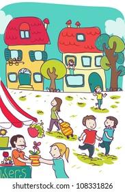 happy colorful cartoon city