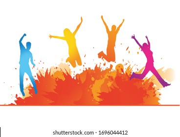 Happy colorful people are jumping