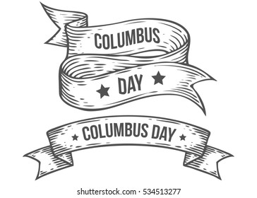 Happy Columbus Day Hand Drawn Illustrations Engraved Style Retro Vintage Nautical Doodle Ribbon Sketch