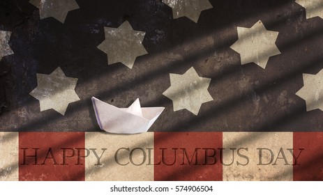 Happy Columbus Day. Paper Boat Sailing with Usa Flag