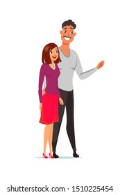 Happy couple flat color illustration. Young family. Boyfriend and girlfriend cartoon characters. Man hugging woman. Caucasian people. Husband and wife smiling. Isolated design element