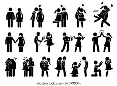 Happy Couple and Lover. Boyfriend and girlfriend love each others. Stick figures depict a couple kissing, holding hand, giving gifts, high five, consoling, hugging, cuddle, and marriage proposal.