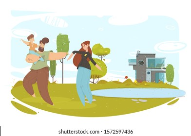 Happy Craft Family with Baby Dancing on Green Meadow. Handsome Father Holding Cheerful Son on Hand. Attractive Mother Moving on Grass. Hobby and Leisure. Eco House. Ecological Illustration