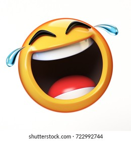 Happy cry Emoji isolated on white background, laughing face emoticon 3d rendering