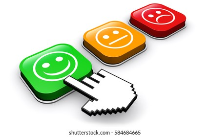 Happy customer feedback concept with hand clicking on positive business quality button 3D illustration.