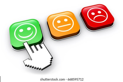Happy customer feedback concept with hand clicking on positive business quality control button 3D illustration.