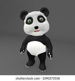Happy Cute Panda 3D Illustration