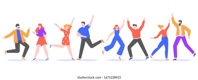 Happy dancing people. Exciting modern characters dancing together, cheerful female and male dancers. Joyful friends at music party isolated  illustration. Celebration. Faceless humans set