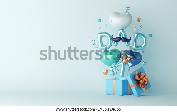 Happy Father's Day decoration background with balloon gift box, copy space text, 3D rendering illustration