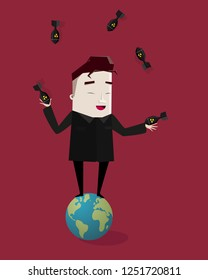 Happy dictator standing on the planet earth juggles nuclear bombs