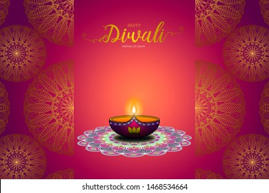Happy Diwali the Festival of Lights concept design background with beautiful clay lamps on rangoli and gold mandala pattern beside.
