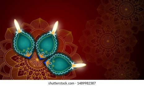 Happy Diwali the Festival of Lights concept design background with beautiful green clay lamps on rangoli.
