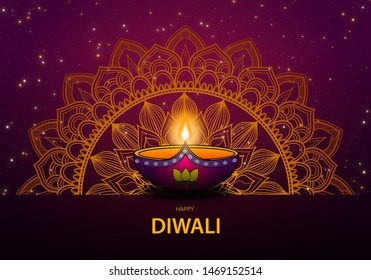 Happy Diwali the Festival of Lights with diwali lamp and gold mandala and firework.