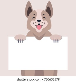 Happy dog with message on white board concept. Cartoon dog character with smiling muzzle holding banner with sample text in pawns flat . Lovely purebred pet illustration for shop, vet clinic ad