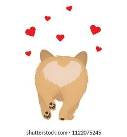 Happy dog Welsh Corgi. The dog is a symbol of 2018 Illustration