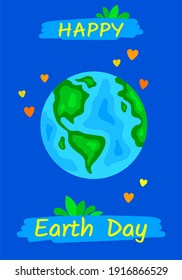 Happy Earth day flat banner for environment safety celebration. Happy Earth Day handwritten lettering with the globe isolated on a space blue background. Typography design for greeting cards, poster.