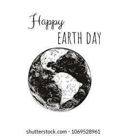 Happy Earth Day. Earth Icon. Simple flat symbol.