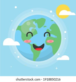 Happy Earth illustration with smiling face