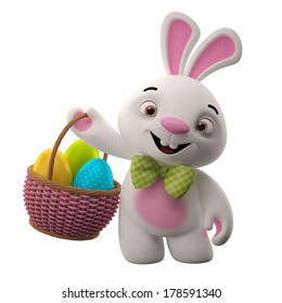Happy Easter, amazing 3D easter bunny, merry cartoon rabbit, animal character with easter eggs in wicker basket