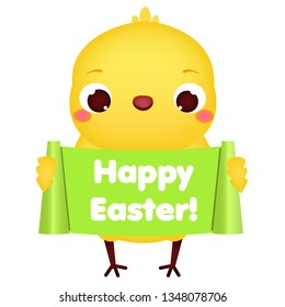 Happy Easter. baby chicken hold greeting banner. Cute cartoon chick. isolated clip art.
