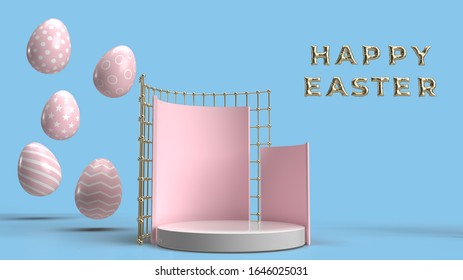 Happy Easter background with colorful 3d decorated eggs, Realistic holiday decoration with typography quote for celebration. greeting card, ad, promotion, poster, flyer, web-banner, article