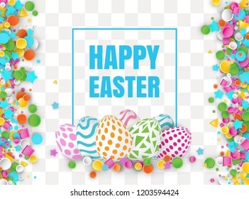 Happy Easter Background with Realistic Decorated Eggs. Greeting Card 3d Design or Invitation Template