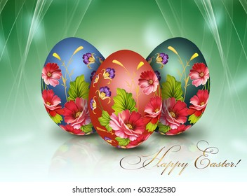 Happy Easter. Beautiful painted eggs on a bright background.