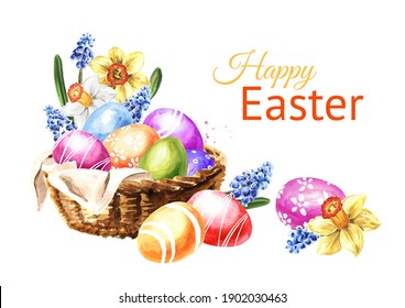 Happy Easter card, Basket with spring flowers and colored eggs. Hand drawn watercolor illustration, isolated on white background