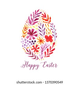 Happy easter card, watercolor egg made of flowers. Creative folk design of egg.