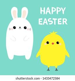 Happy Easter chicken bird, bunny set. White rabbit baby chick head face. Egg shape. Cute cartoon kawaii funny character. Farm animal. Green background. Flat design