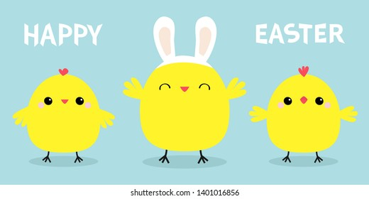 Happy Easter. Chicken bird set line. Face head wearing rabbit bunny ears band. Cute cartoon funny kawaii baby character. Friends forever. Flat design. Greeting card Blue pastel color background