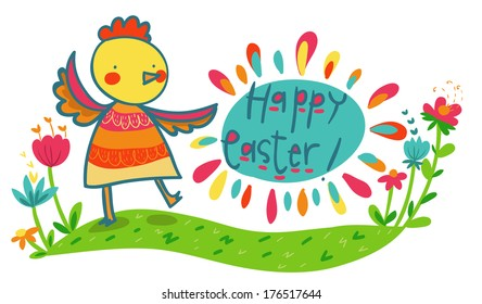 happy Easter colorful illustrated card. Chicken