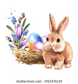 Happy Easter concept, nest with colored eggs,  spring flowers and small rabbit . Hand drawn watercolor illustration isolated on white background
