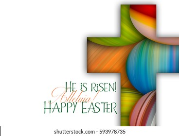 Happy Easter cross made of colorful painted Easter eggs, religious holiday background with copy space for text