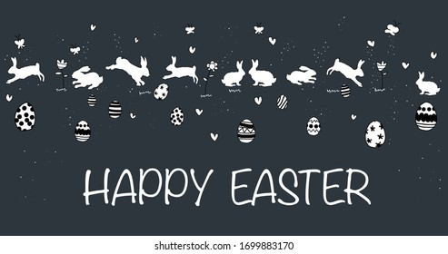 happy easter, Cute hand drawn Easter horizontal seamless pattern with bunnies