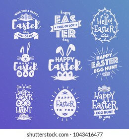 Happy easter emblem set typography white style on background for greeting card text templates, label, badges, decoration, sale banner, party, poster, promotion, tag, decoration