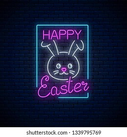 Happy easter glowing signboard with bunny and lettering in neon style. Easter bunny greeting banner.
