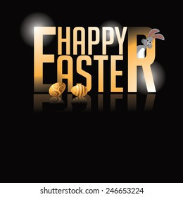 Happy Easter gold type background royalty free stock illustration. Perfect for ads, poster, flier, signage, party invitation, easter egg hunt, easter parade