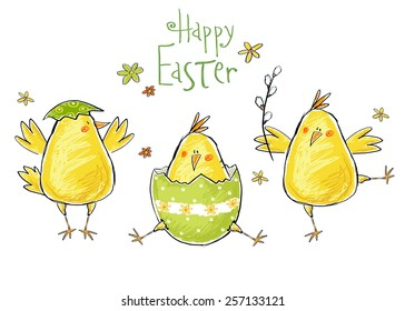 Happy Easter greeting card with cute chickens with flowers and Easter egg.