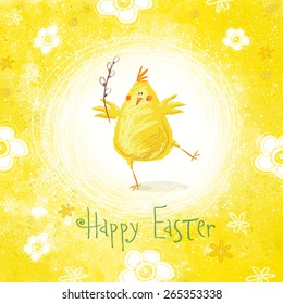 Happy easter greeting card. Cute   funny chicken with text.