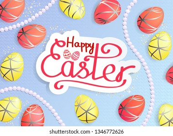 Happy Easter greeting card with lettering, eggs and pearls. - Shutterstock ID 1346772626