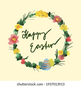 Happy Easter greeting card with light yellow background showing a beautiful flower wreath with flowers in yellow, orange and red and with a light blue Easter egg