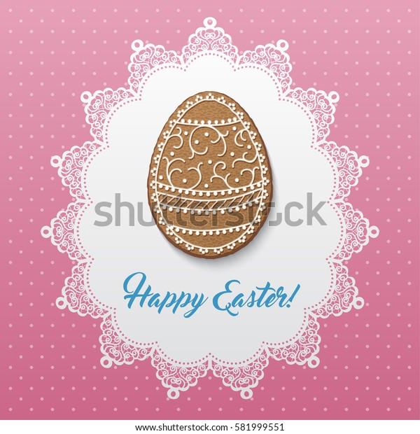 Happy Easter greeting card with polka dot background, lacy doily and egg-shaped gingerbread cookies. Illustration.