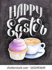 Happy Easter hand lettering with coffee and cupcake, on black chalkboard background. Festive chalk typography design.