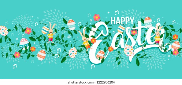 Happy Easter holiday typography quote with eggs, rabbit and spring decoration background. Horizontal format card design ideal for web banner.