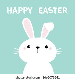 Happy Easter. Kawaii bunny rabbit. Long ears. Cute cartoon kawaii funny baby character. Farm animal collection. Spring greeting card. Blue background. Isolated. Flat design