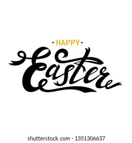 Happy Easter lettering card. Black ribbon text. Hand drawn lettering poster for Easter. Modern calligraphy. illustration