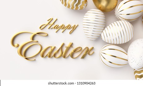 Happy Easter Luxury background with golden and white eggs. 3d render illustration