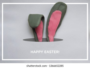 Happy Easter, postcard, creative post on social media. Plasticine cute bunny.